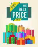 Hot Best Price Discounts Super Final Total 90 Sale. Offer now sticker labels on banners with present festive gift boxes vector illustration poster Stock Image