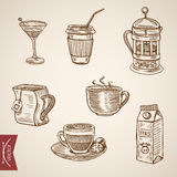 Hot beverage cups tea milk coffee late engraving vector vintage Stock Photo