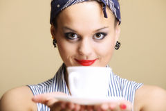 Hot beverage. Woman holding tea or coffee cup Stock Photos