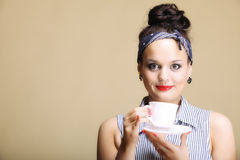 Hot beverage. Woman holding tea or coffee cup Royalty Free Stock Images