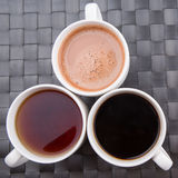 Hot Beverages In Mugs V Royalty Free Stock Photography