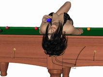 Hot billiards queen Royalty Free Stock Photo