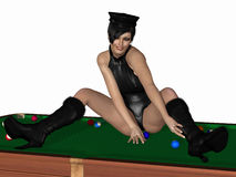 Hot billiards queen Stock Photos