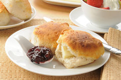 Hot biscuits iwth blueberry jam Stock Photo