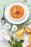 Hot bisque in a white bowl stock photo