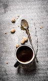 Hot black coffee with brown sugar. Stock Photos