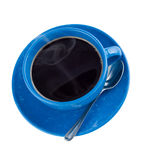 Hot black coffee in cup, isolated. Royalty Free Stock Images