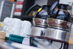 Hot black coffee in percolator Stock Photos