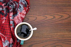 Leisure time. Hot black coffee while resting stock images