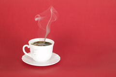 Hot black coffee with smoke Stock Photo
