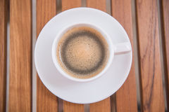 Hot black coffee in white cup Royalty Free Stock Photo