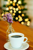 Hot black coffee on wooden table Stock Photos
