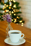 Hot black coffee on wooden table with bokeh Royalty Free Stock Photos