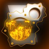 Hot black metal background with fire. 3D rendered Stock Image