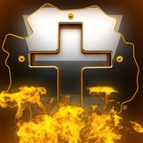 Hot black metal background with fire Stock Photos