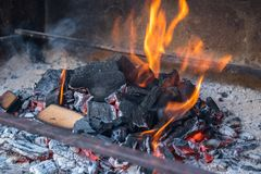 Hot black and red coals for barbecue, fire.  Stock Photo