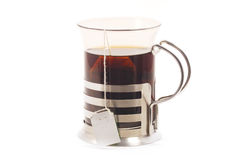 Hot black tea on glass cup Stock Image