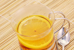 Hot black tea on glass cup Royalty Free Stock Photo