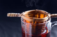 Hot black tea. In glass cup Royalty Free Stock Photo