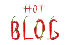 HOT BLOG text composed of chili peppers. Isolated on white backg Royalty Free Stock Images