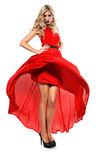 Hot blond woman in red dress Royalty Free Stock Photo