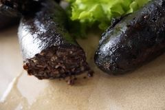 Hot blood sausage with green fresh leaves close up fro dinner.  royalty free stock photography