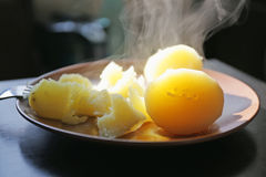 Hot boiled potatoes Royalty Free Stock Photography