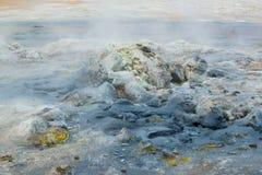 Hot boiling mudpot, underground steam, geothermal area Hverir, Iceland Stock Photos