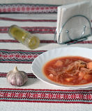Hot borsch on embroidered tablecloth Stock Images