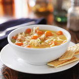 Hot bowl of chicken noodle soup Stock Photos