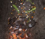 Hot briquettes, cost iron grid and spices flying in the air. Stock Photos