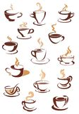 Hot brown coffee icons Royalty Free Stock Images