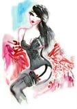 Hot Brunette in Lingerie Stock Photos