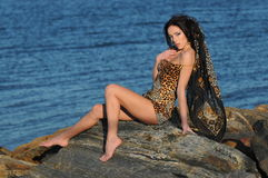 Hot brunette woman sitting on jetty. Wearing animal print mini dress and scarf Stock Image