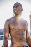 Hot buff black man posing outdoor Royalty Free Stock Images