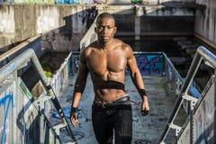Hot buff black man posing outdoor Royalty Free Stock Image