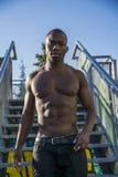 Hot buff black man posing outdoor Stock Photography