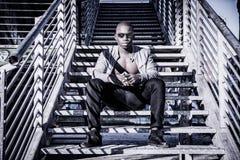 Hot buff black man posing outdoor Stock Photos