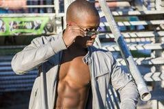 Hot buff black man posing Stock Photos
