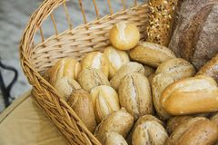 Hot buns in basket with diagonal copy space horizontal Stock Image