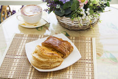 Hot buns with feeling on table Stock Image