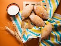 Hot buns on tablecloth Stock Photos