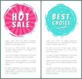Hot Burn Sale Best Price Choice Set Label Poster. Hot burning sale best choice set of round labels with brush strokes on posters with text vector illustration Royalty Free Stock Image
