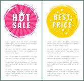Hot Burn Sale Best Price Choice Set Label Poster. Hot burning sale best price set of round labels with brush strokes on posters with text vector illustration Royalty Free Stock Photo