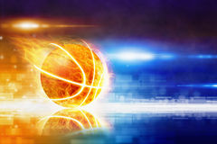 Hot burning basketball. Abstract sports background - burning basketball with reflection, glowing colorful lights Stock Photo