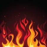 Hot burning blazing fire. Flames on dark background royalty free illustration