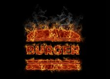 Hot burning burger symbol. Icon of american national food - beef burger Royalty Free Stock Photography