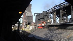 Hot burning coal in transfer car. stock video