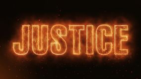 Justice Word Burning Realistic Fire Flames Sparks continuous seamlessly loop. Hot Burning on Realistic Fire Flames Sparks And Smoke continuous seamlessly loop stock footage