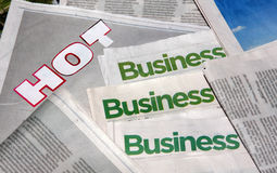 HOT business section of newspaper. Picture about business section of newspaper Royalty Free Stock Photos